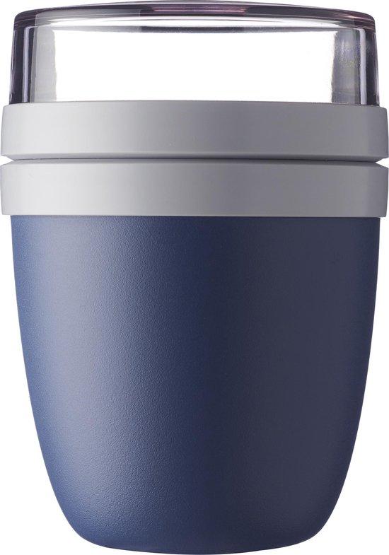 Mepal – Lunchpot Ellipse – Praktische muesli beker to go – Nordic denim – Geschikt voor vriezer, magnetron en vaatwasser.