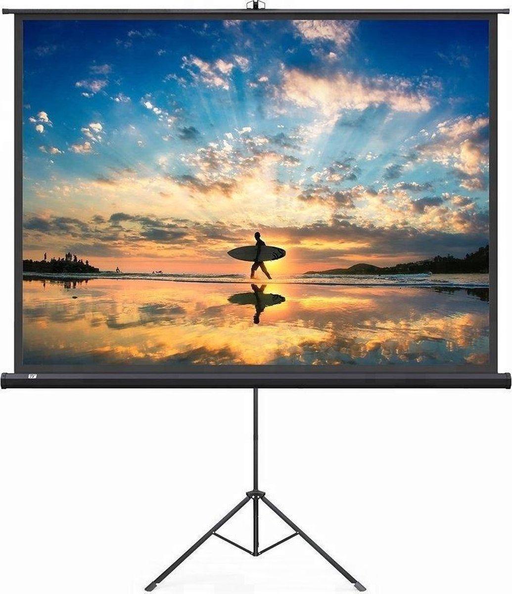 """""""Beamerscherm op statief 100"""""""" - 221 x 125 cm - 16:9 - projectiescherm op tripod - wit"""""""