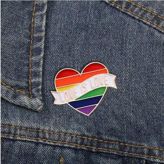 Pride Love is Love Kledingspeld - Gay Pride - Regenboog Pin Broche - 1 stuks