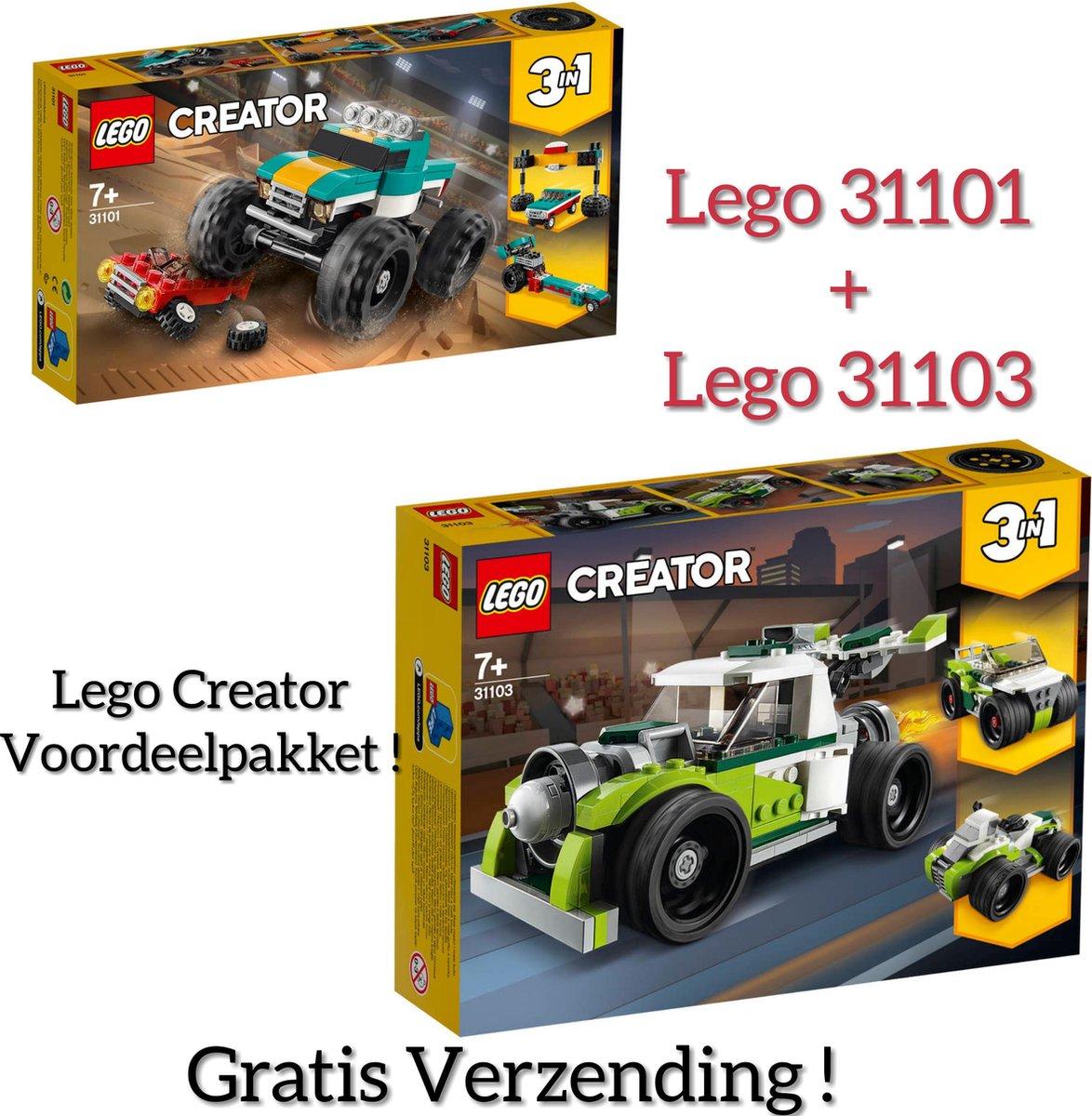 VOORDEEL PAKKET LEGO CREATOR / LEGO Creator Monstertruck 31101 +  LEGO Creator Raketwagen 31103 (GRATIS VERZENDING)