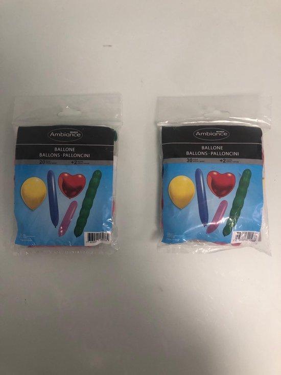 Ambiance ballonen in diverse vormen en kleuren - set van 1 keer 20 stuks en 1 keer 30 stuks