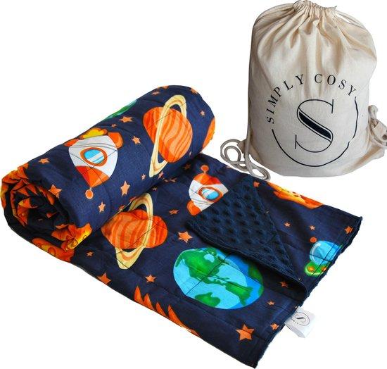 Verzwaringsdeken Kind Weighted Blanket Kinderen – Beter slapen - Oeko Tex Keurmerk – 100x135 – 2,5KG – Ruimte
