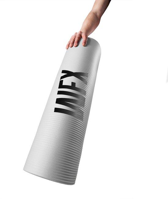 Fitness mat - »Amisha« - duurzaam, non-slip, huidvriendelijk, slijtvast - 183 x 61 x 1,2cm - wit