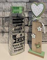 Kadoset sapkan groene dop bedankt voor alles - pilaar hout hartje | Juf & Meester