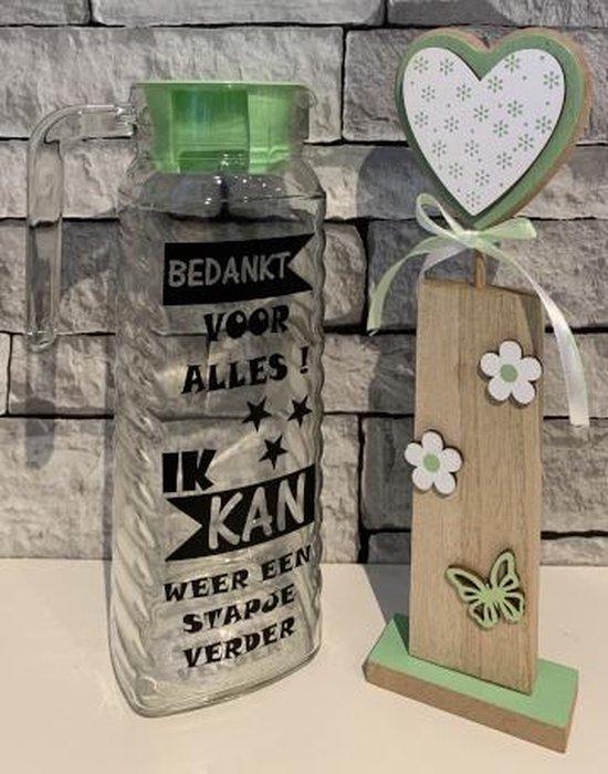 Kadoset sapkan groene dop bedankt voor alles - pilaar hout hartje   Juf & Meester