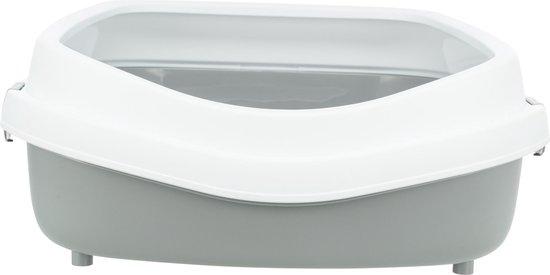 Kattenbak Primo XXL, met rand - grijs/wit - 56 × 25 × 71 cm