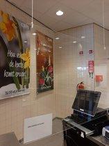 Baliescherm Hangend | Spatscherm | Bureauscherm | Kassascherm | Preventiescherm | Spuugscherm | Kuchscherm | Plexiglas scherm | 100 cm x 75 cm ( b x h)