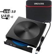 Externe CD/DVD Speler en Brander voor Laptop - Optische Drive - USB DVD Speler - Externe DVD Brander - USB 3.0 of USB C - DVD/CD Drive - Plug & Play - Geschikt Voor Windows, Linux & Macbook pro + Beschermhoes