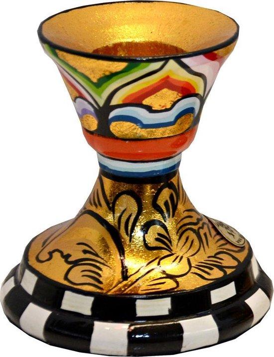 Kleurrijk, grappig en vrolijk, in alle kleuren van de regenboog:  Kandelaar S, goud