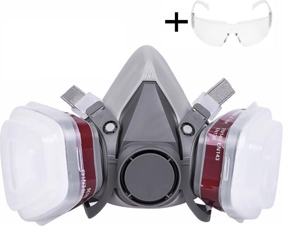 Bol Com 6 In 1 Halfgelaatsmasker Veiligheidsbril Gas Dampmasker Kn95 Verfmasker Pa1 Damp Masker