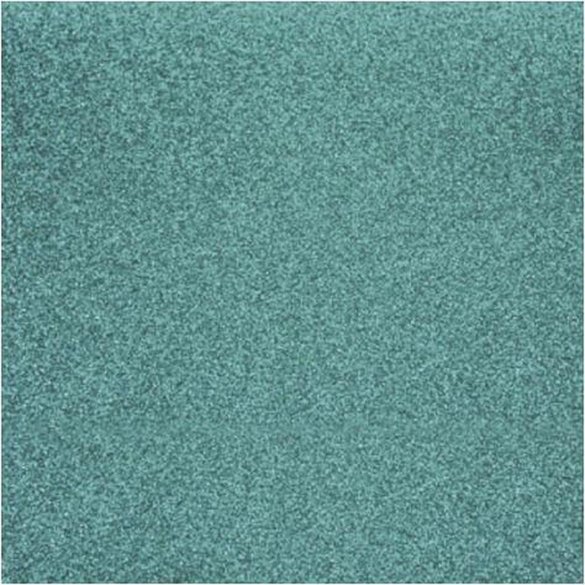 8x stuks turquoise blauw glitter papier vellen 30.5 x 30.5 cmm - Hobby scrapbooking artikelen