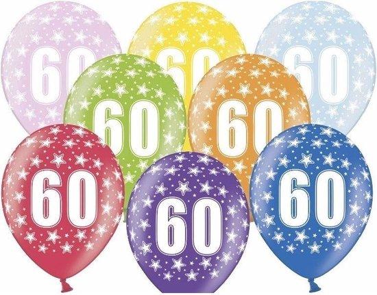 12x stuks Ballonnen 60 jaar thema met sterretjes - Verjaardag feestartikelen/versiering