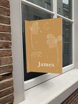 Geboortebord illustratie | Geboortebord raam | Raamdecoratie geboorte | studiobydiede.com