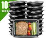 Meal Prep Bakjes Vershouddoos - 10 stuks - Met 1 Compartiment - Herbruikbaar - Zwart