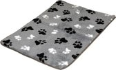Lovely Nights vetbed/kleed light grey with 2 color print paw anti-slip 75x50 rechthoek