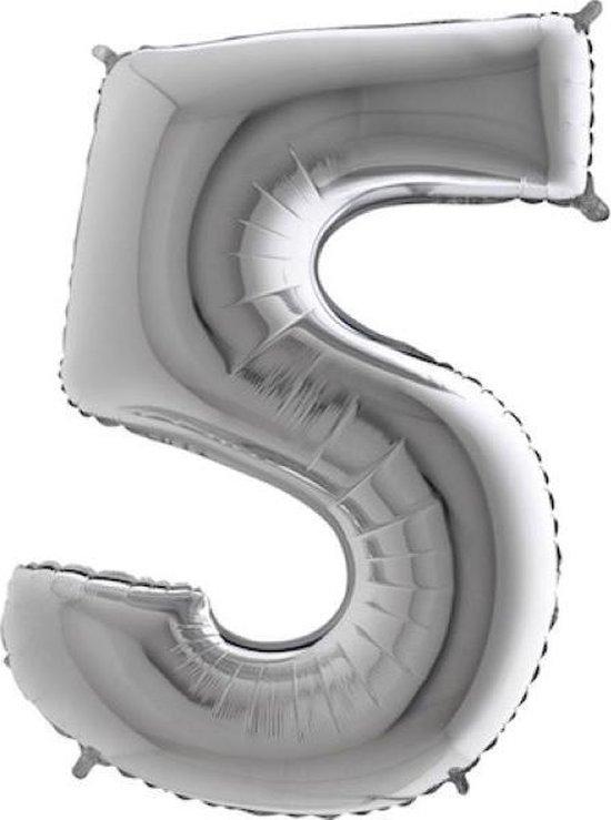 Grabo Balloons - Folieballon - Cijfer 5 - zilver - 66cm