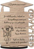 Eindexamen gehaald - originele houten wenskaart – kaart van hout – voor je examens geslaagd