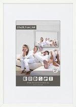 Halfronde Aluminuim Wissellijst - Fotolijst - 60x60 cm - Helder Glas - Wit - 10 mm