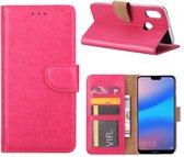 Huawei P20 Lite (2018) - Bookcase Roze - portemonee hoesje