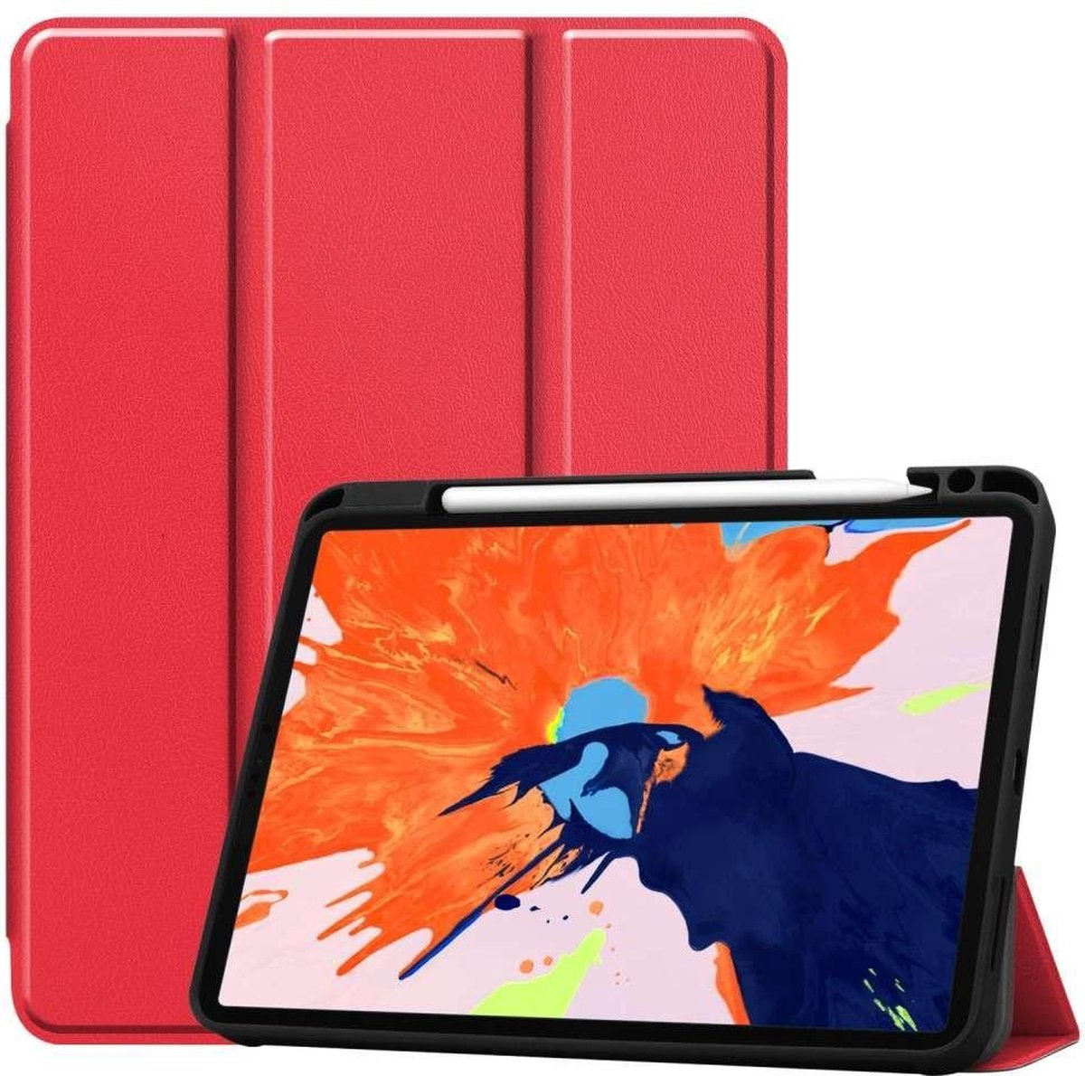 Afbeelding van product Just in Case  Apple iPad Pro 12.9 2020 Smart Tri-Fold Case With Pen Slot - Rood