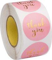 Stickers 'Thank you' bedrijf stickers - roze - hobby - webshop - bestellingen - kaart - stickers - bedankt stickers - trouwerij - bruiloft - goudkleurig -  rond - 500 stuks - op rol - bedrijfstickers hobbystickers