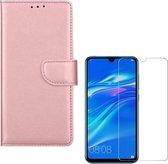 Huawei P Smart Plus 2019 Portemonnee hoesje Rose Goud met 2 stuks Glas Screen protector