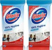 GLORIX Ocean Fresh 100% Hygiëne - 2 pak x 30 Hygiëne doekjes – voordeelverpakking – schoonmaak – verwijdert de allergenen stof en pollen !!!