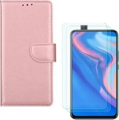 Huawei P Smart Z Portemonnee hoesje Rose Goud met 2 stuks Glas Screen protector