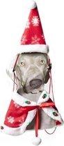 Cape en Kerstmuts Hond - Dierenkleding - Rood/Wit