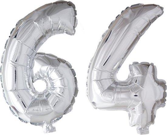 Folieballon 64 jaar zilver 86cm
