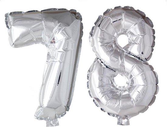 Folieballon 78 jaar zilver 86cm