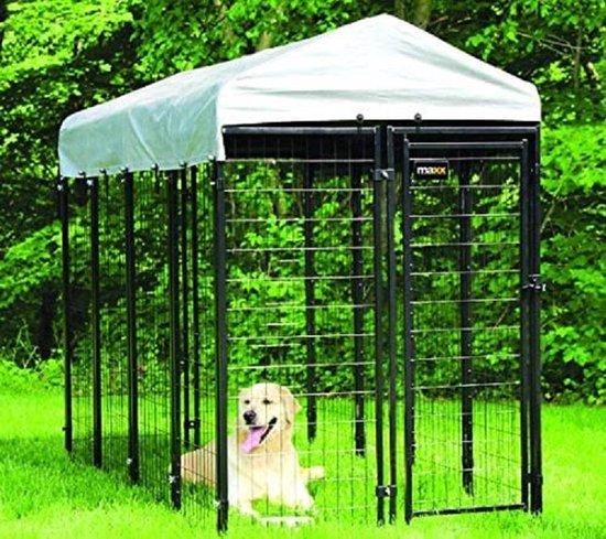 MaxxPet Hondenkennel Afneembaar Dak - Dierenverblijf - Zwart - 2,4 x 1,2 x 1,8 m