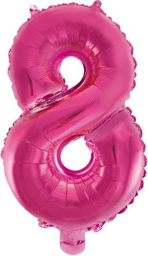 Folieballon 8 jaar roze 86cm