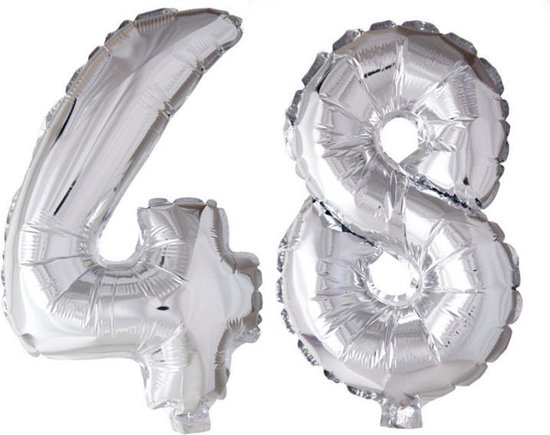 Folieballon 48 jaar zilver 41cm