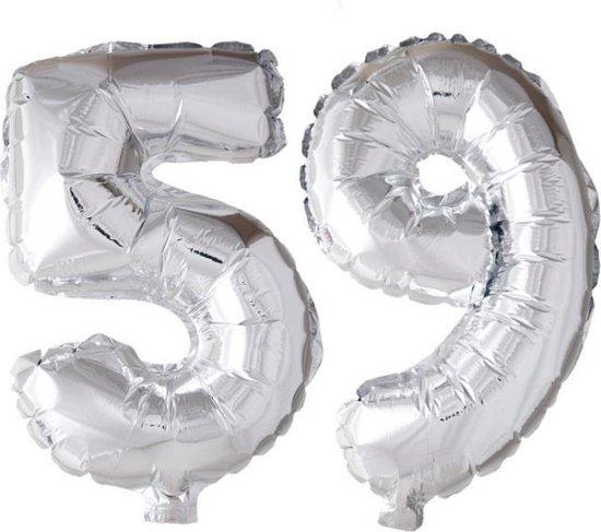 Folieballon 59 jaar zilver 41cm