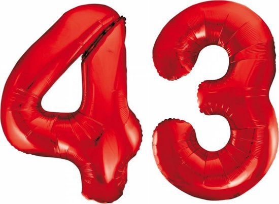 Folieballon 43 jaar rood 86cm