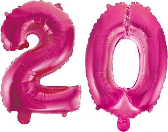 Folieballon 20 jaar roze 41cm