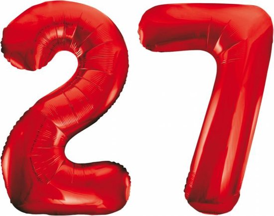 Folieballon 27 jaar rood 86cm