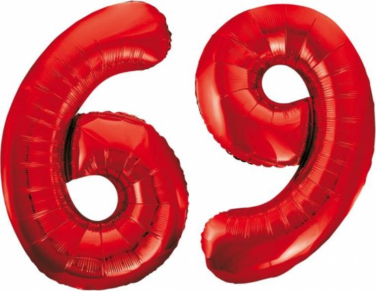 Folieballon 69 jaar rood 86cm