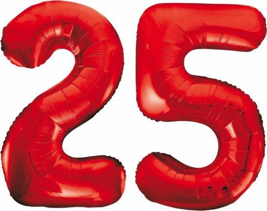Folieballon 25 jaar rood 86cm