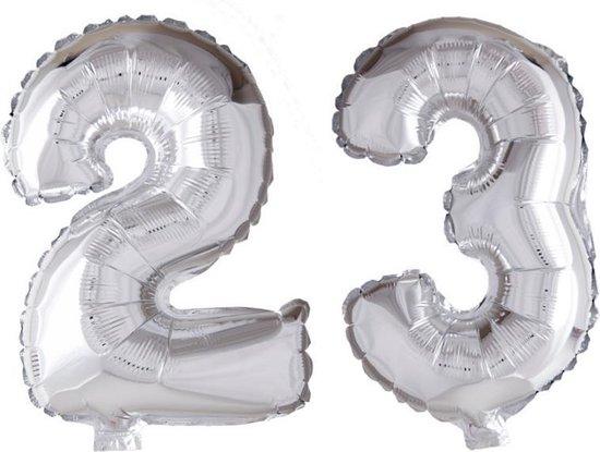 Folieballon 23 jaar zilver 41cm