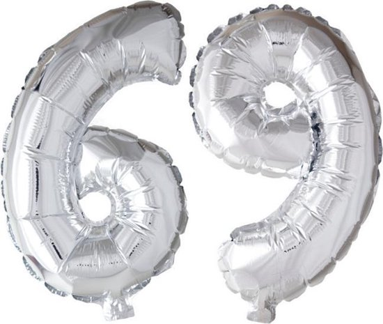 Folieballon 69 jaar zilver 41cm