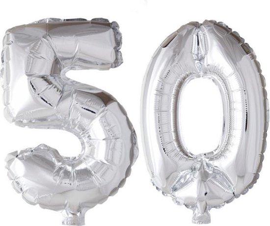 Folieballon 50 jaar zilver 41cm