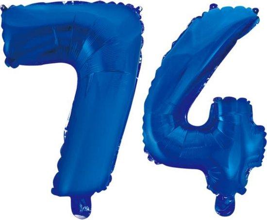 Folieballon 74 jaar blauw 86cm