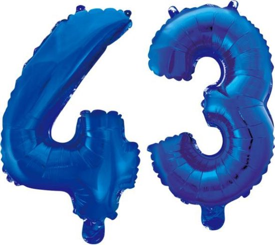 Folieballon 43 jaar blauw 41cm