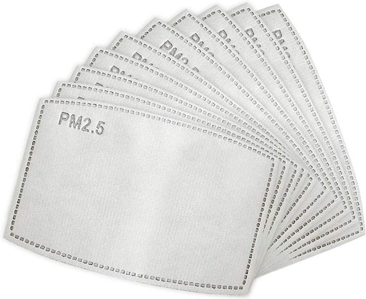 Vervangbare mondkapje filters - 10 stuks | wegwerp (50 - 60uur gebruik) | PM 2.5 filters - Mondkapjes