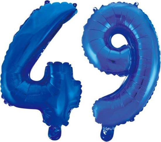 Folieballon 49 jaar blauw 86cm