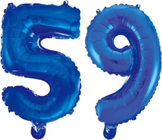 Folieballon 59 jaar blauw 86cm
