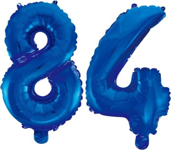 Folieballon 84 jaar blauw 86cm