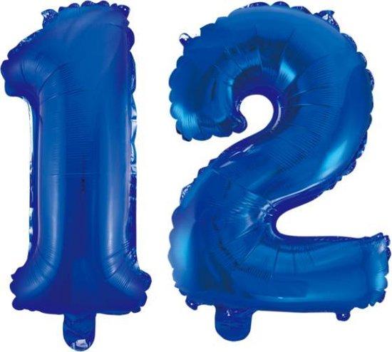 Folieballon 12 jaar blauw 86cm
